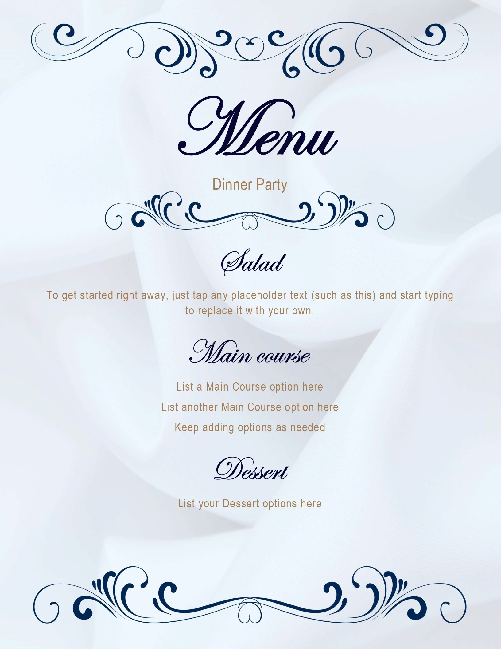 Menus Office Free Printable Dinner Party Menu Template