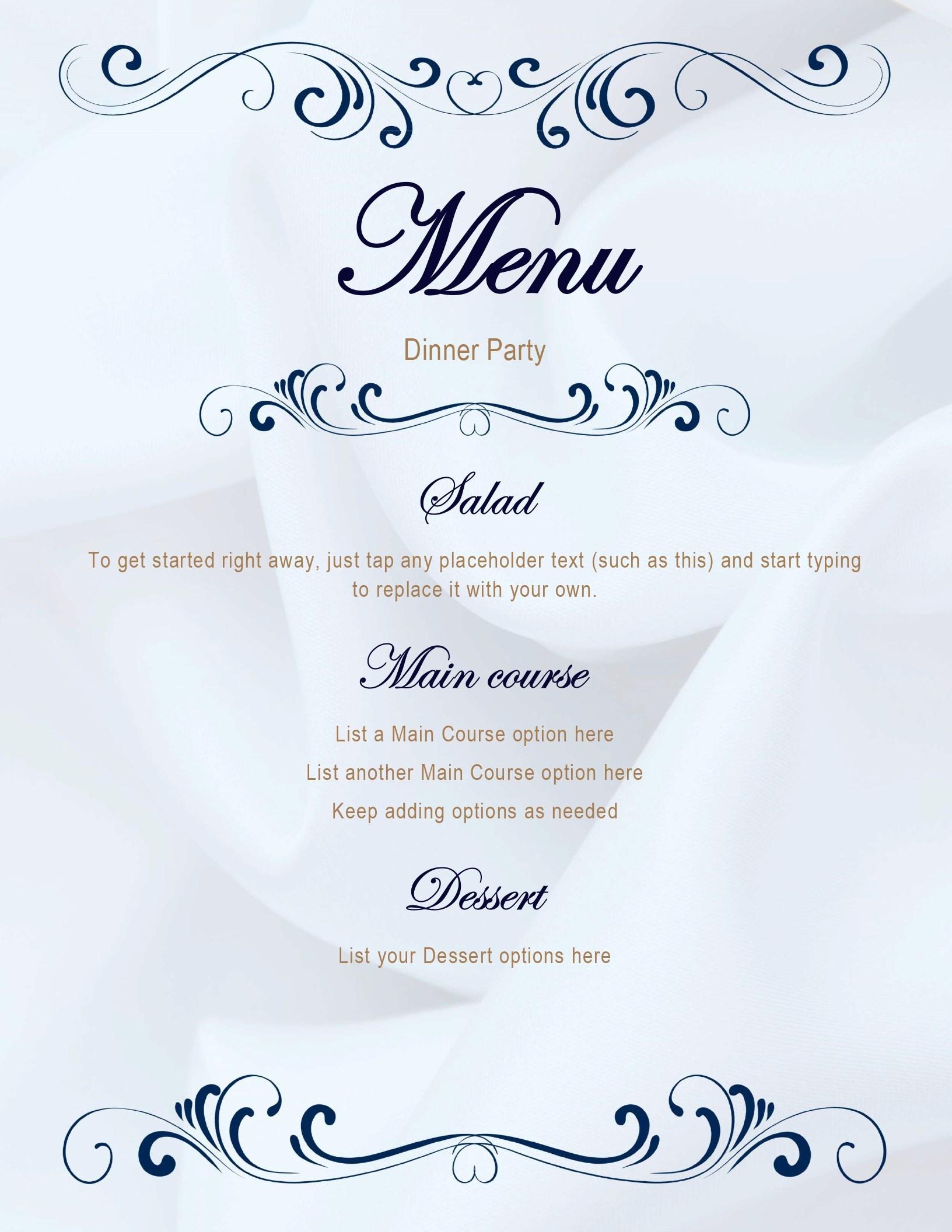 Menus Office Free Printable Dinner Party Menu Template