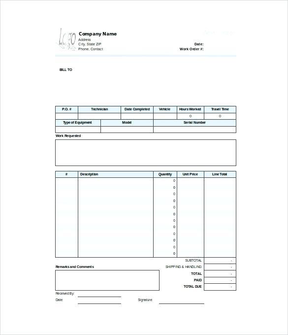 Editable Free Printable Work Order Template