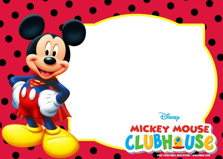 Editable Mickey Mouse 1st Birthday Invitations Template Free