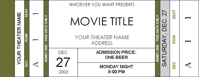 Editable Theater Ticket Template