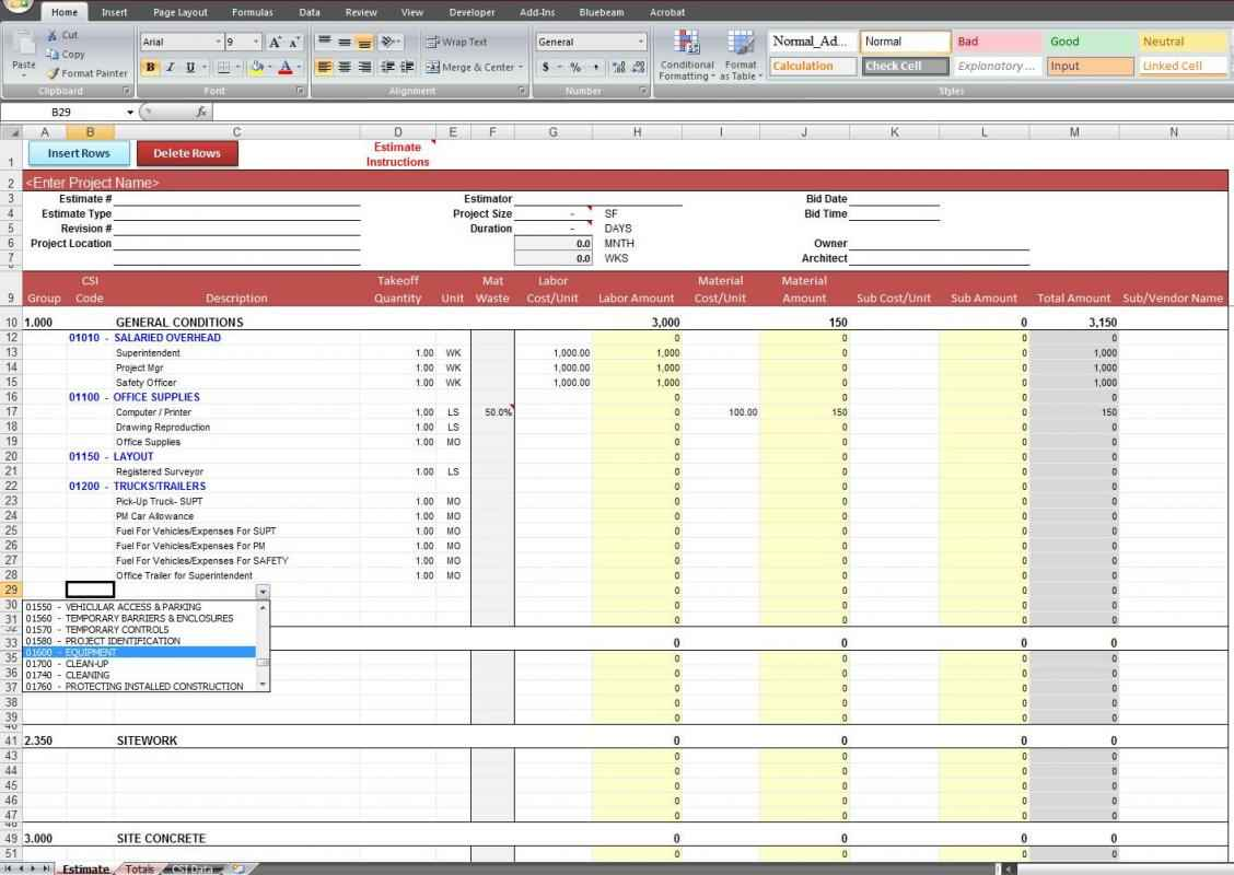 Electrical Contractor Estimate Template