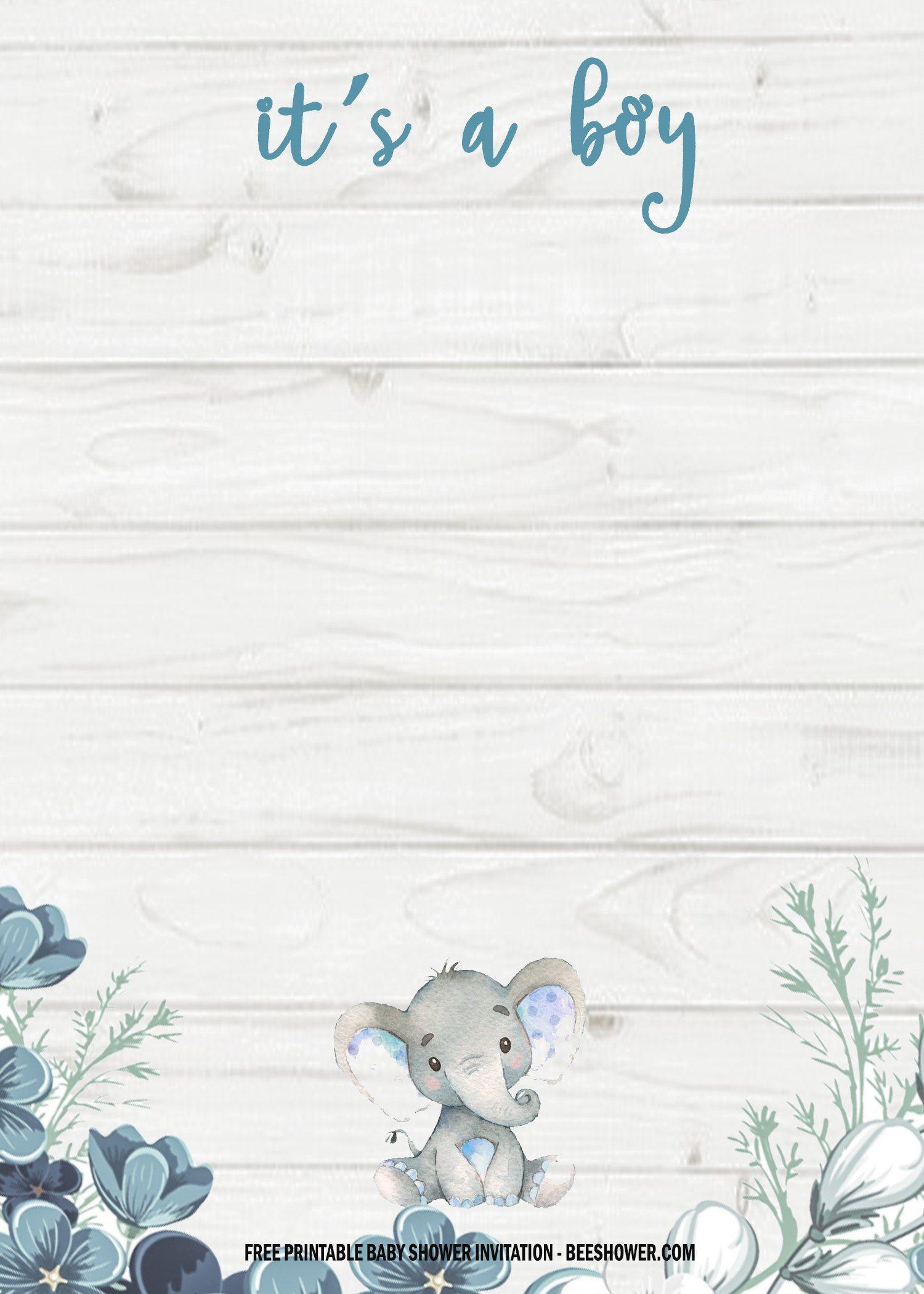 Elephant Baby Shower Invitation Templates Free