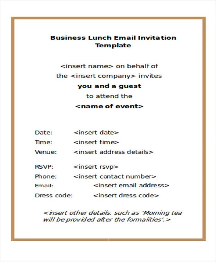Email Business Dinner Invitation Template