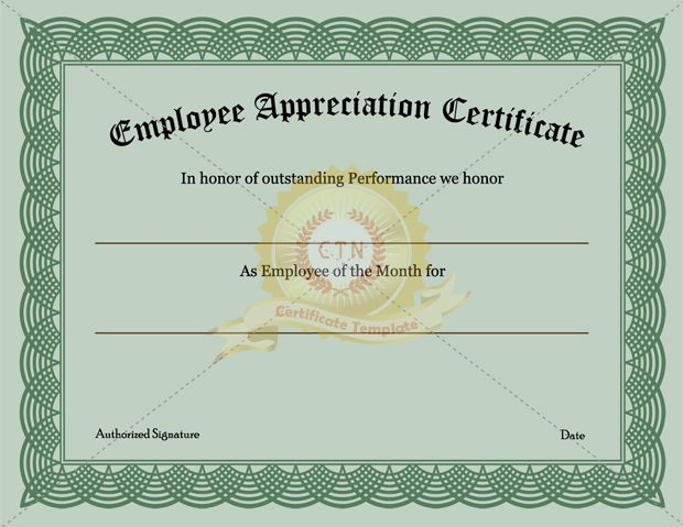 Employee Appreciation Certificate Templates