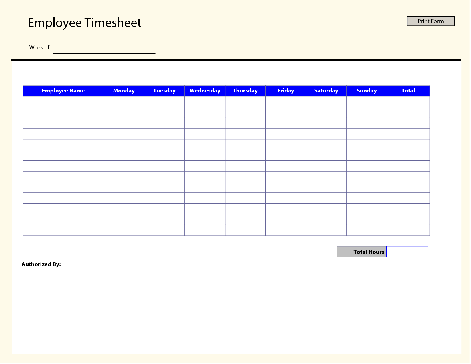 Employee Blank Timesheet Template