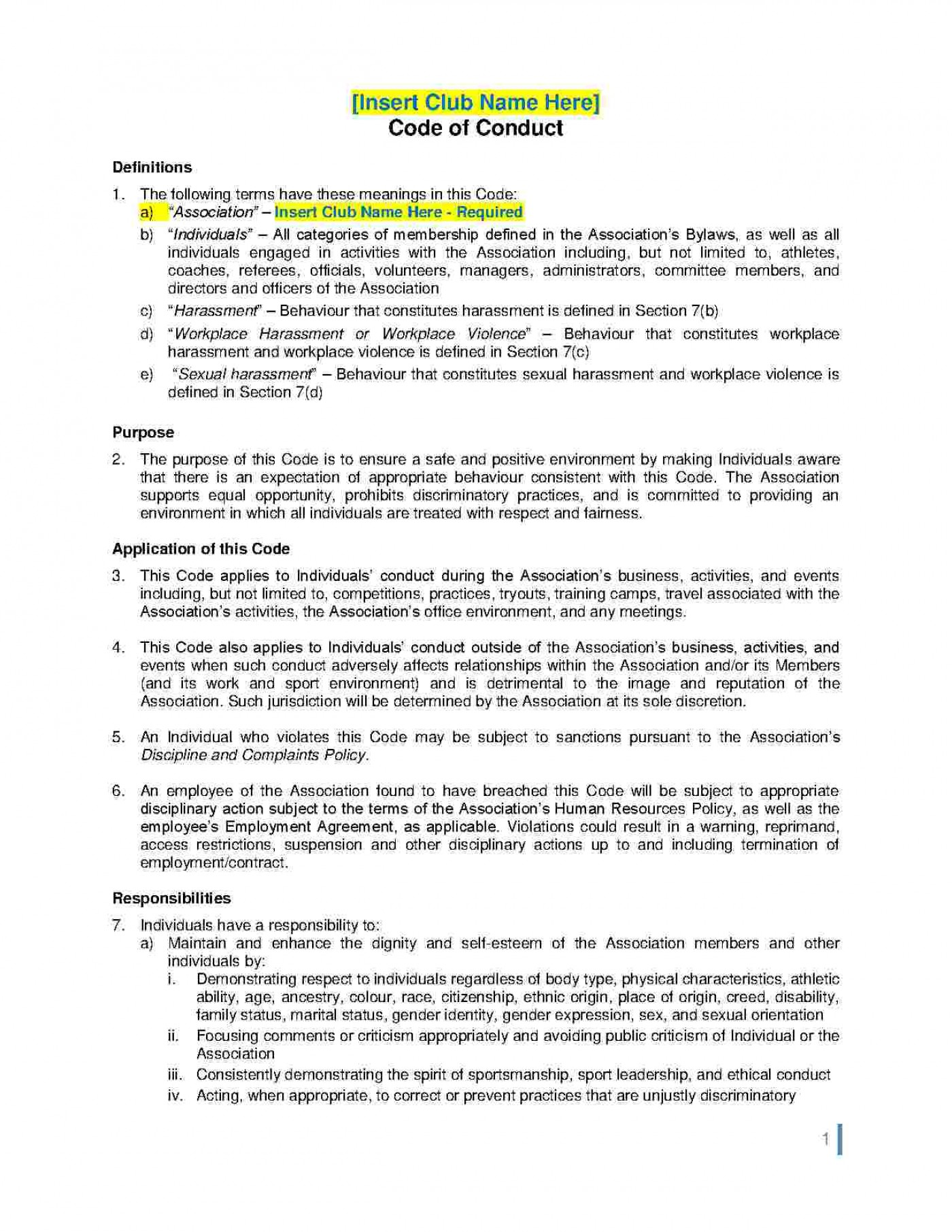 Employee Code Of Conduct Template