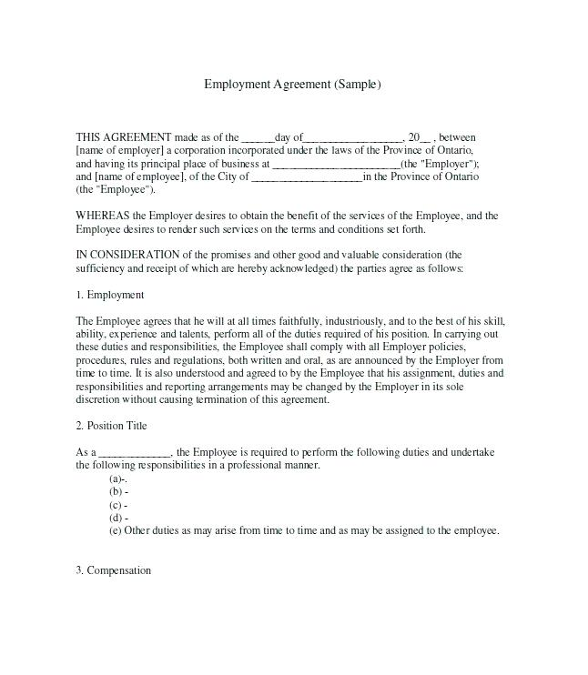 Employee Employer Contract Template