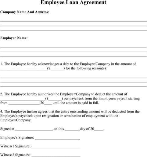 Employee Loan Letter Template