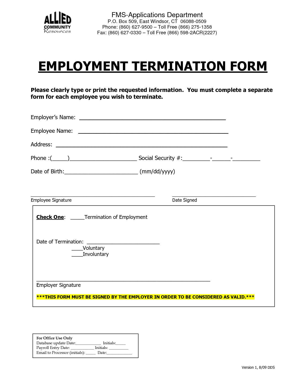 Employee Termination Form Template Free