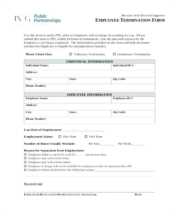 Employee Termination Notice Termination Form Template Word