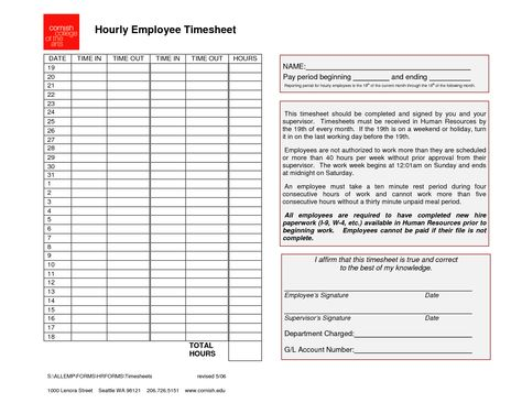 Employee Timesheet Template Pdf