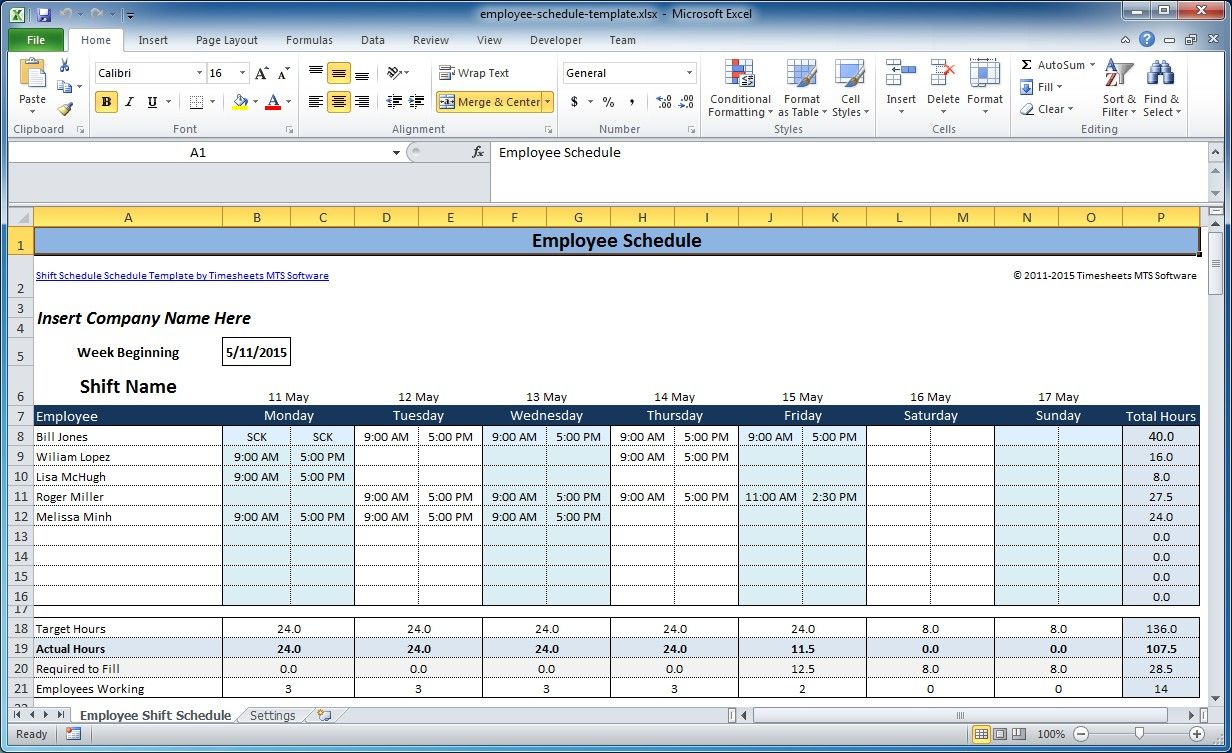 Employee Weekly Schedule Template Excel