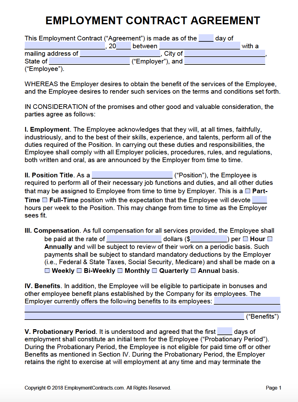 Employment Contract California Template