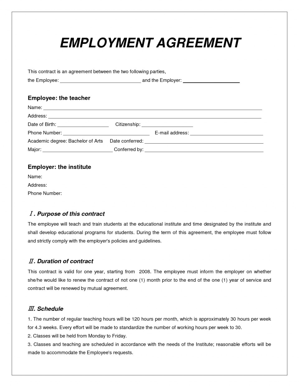Employment Contract Template Word South Africa