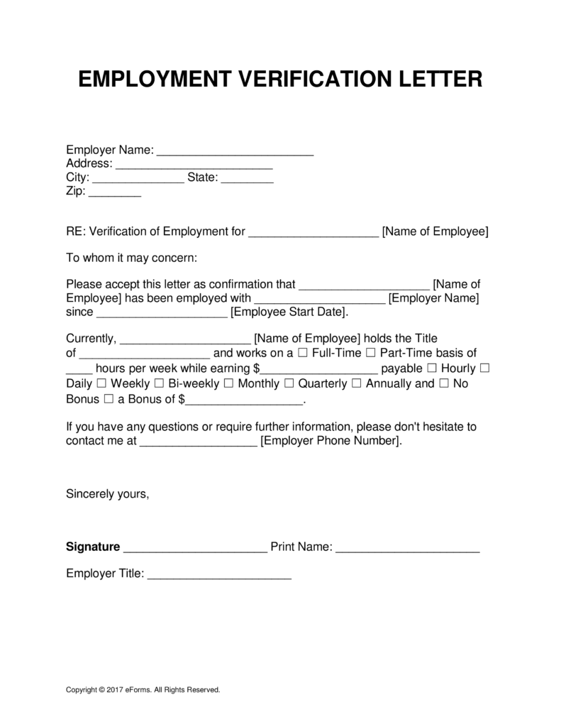 Employment Verification Letter Template Free