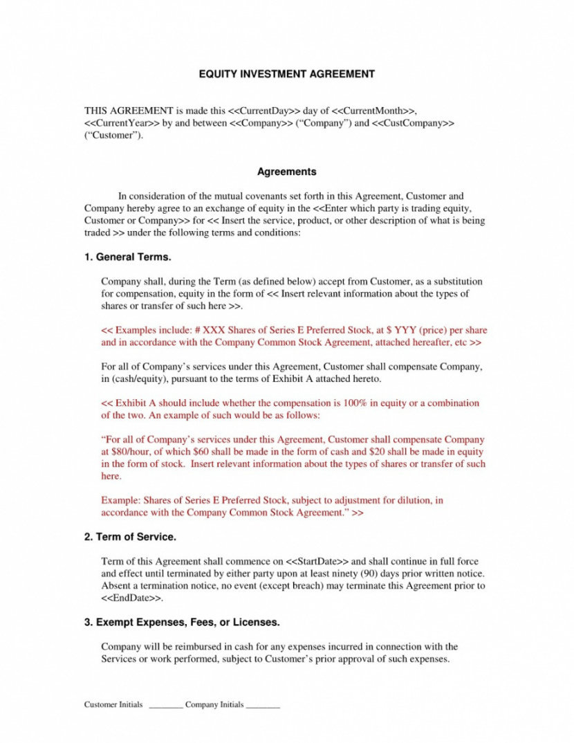 Startup Equity Agreement Template Beconchina Startup Equity Agreement Template Doc