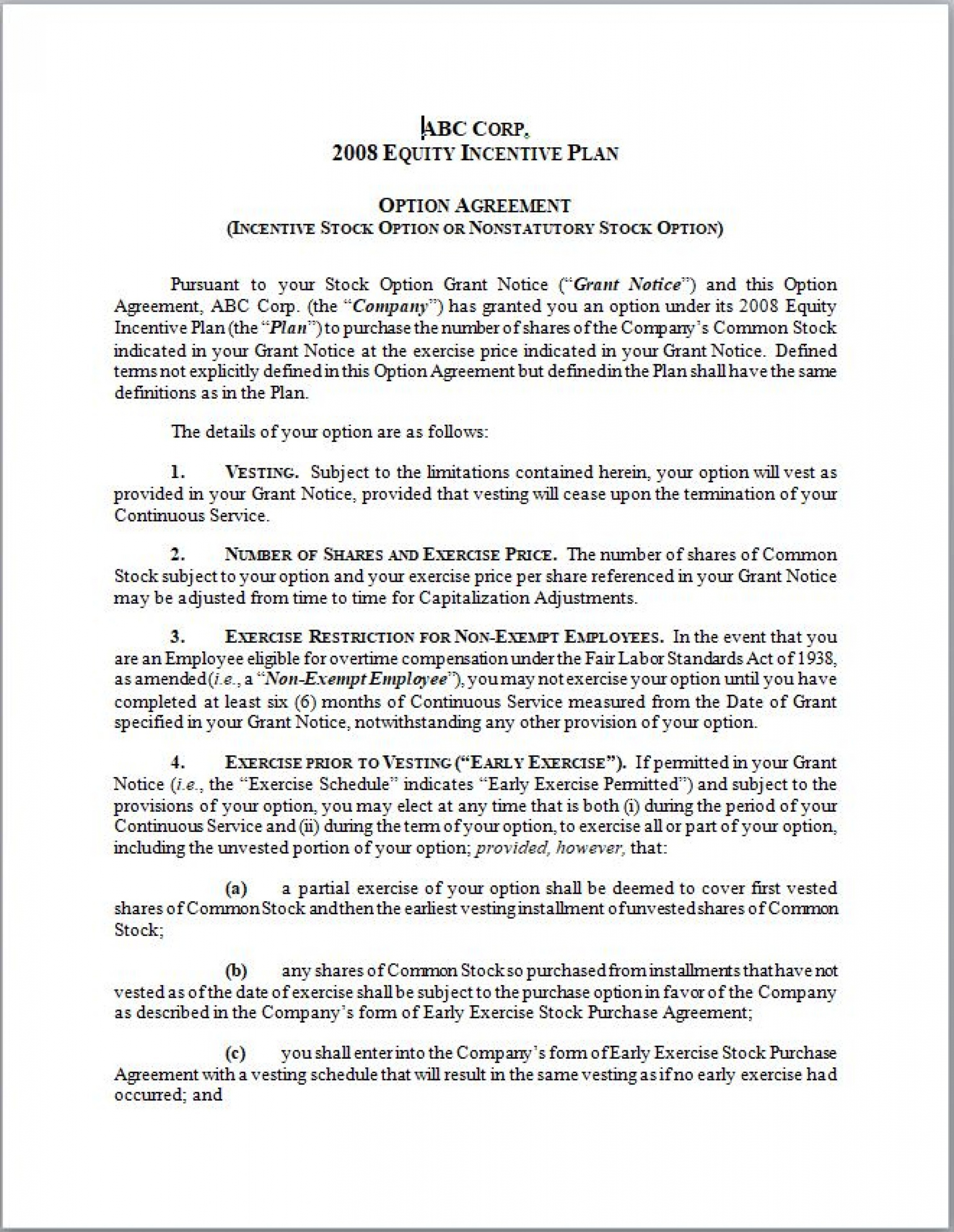 Printable Option Agreement Template Eloquens Startup Equity Agreement Template Pdf