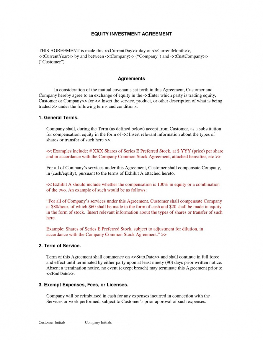 Printable Equity Sharing Agreement Form Startup Sample Basic Free Real Estate Startup Equity Agreement Template Doc