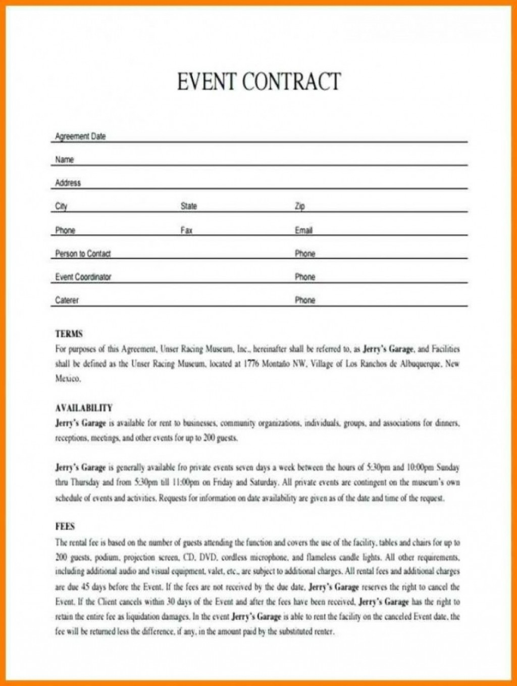 Event Planning Event Planner Contract Template