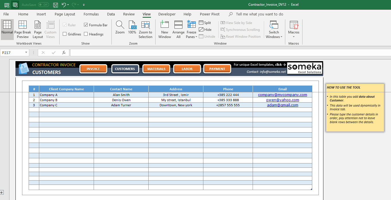Excel Contractor Invoice Template