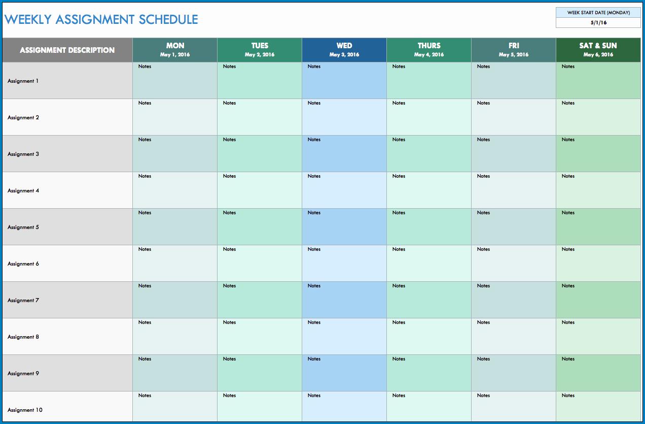 Excel Monthly Schedule Template