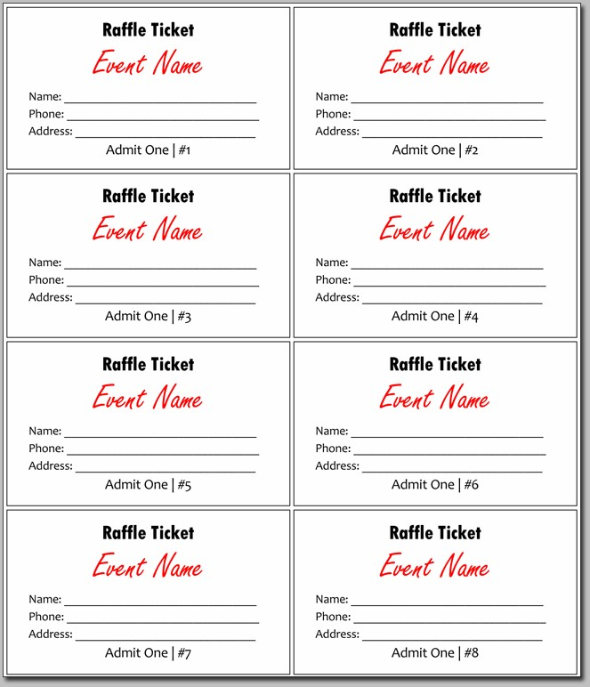 Excel Numbered Raffle Ticket Template