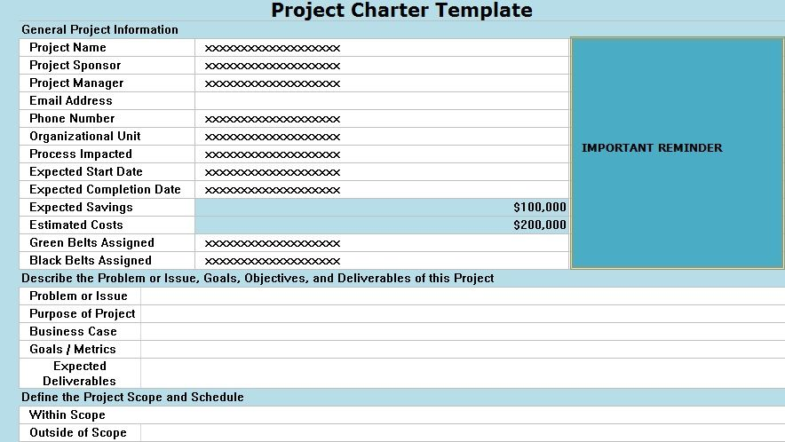Excel Project Management Project Charter Template