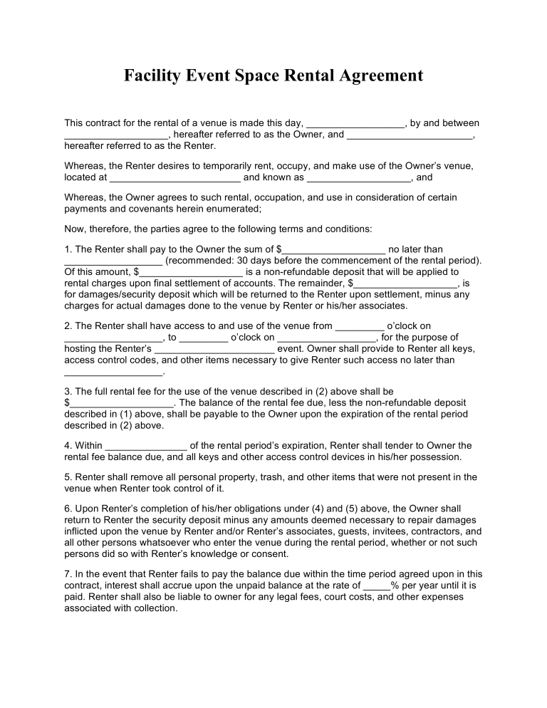 Facility Rental Agreement Template Word