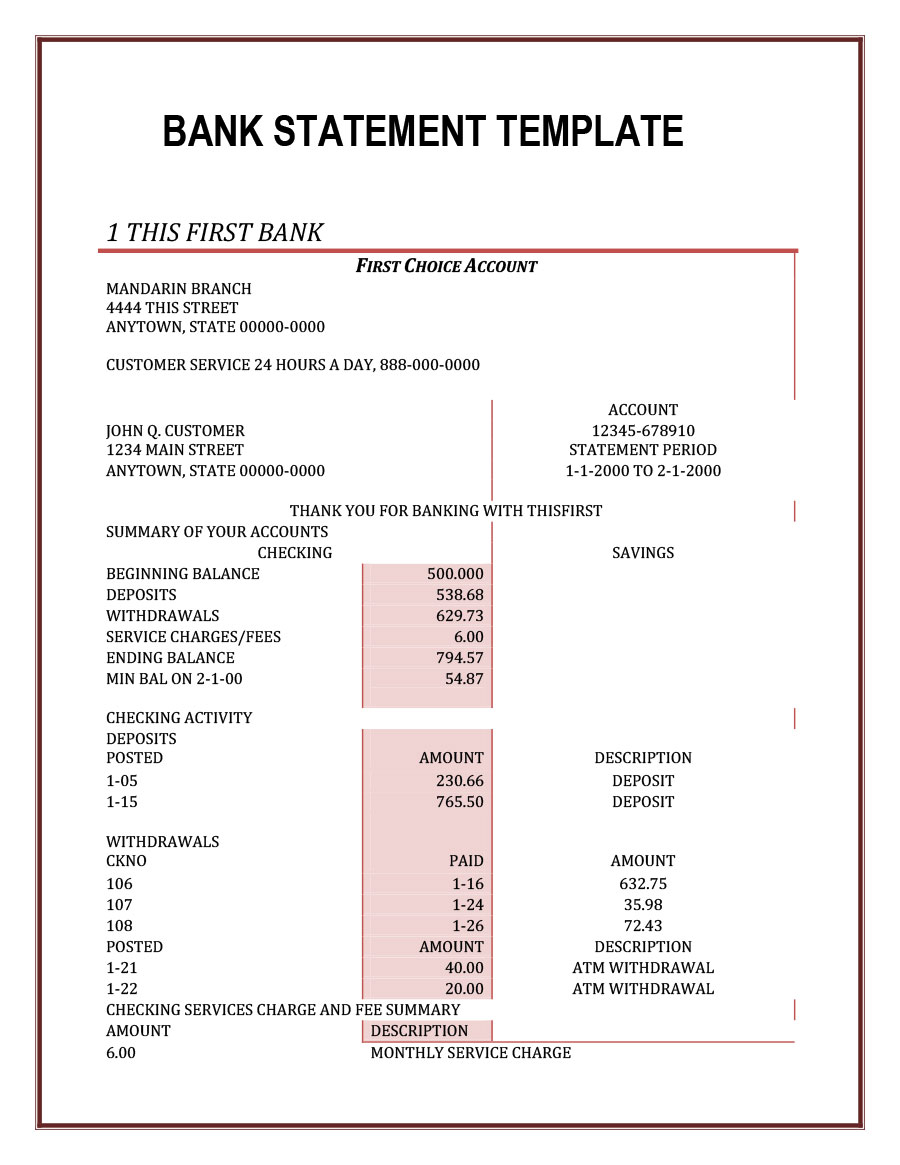 Fake Bank Statement Template Free