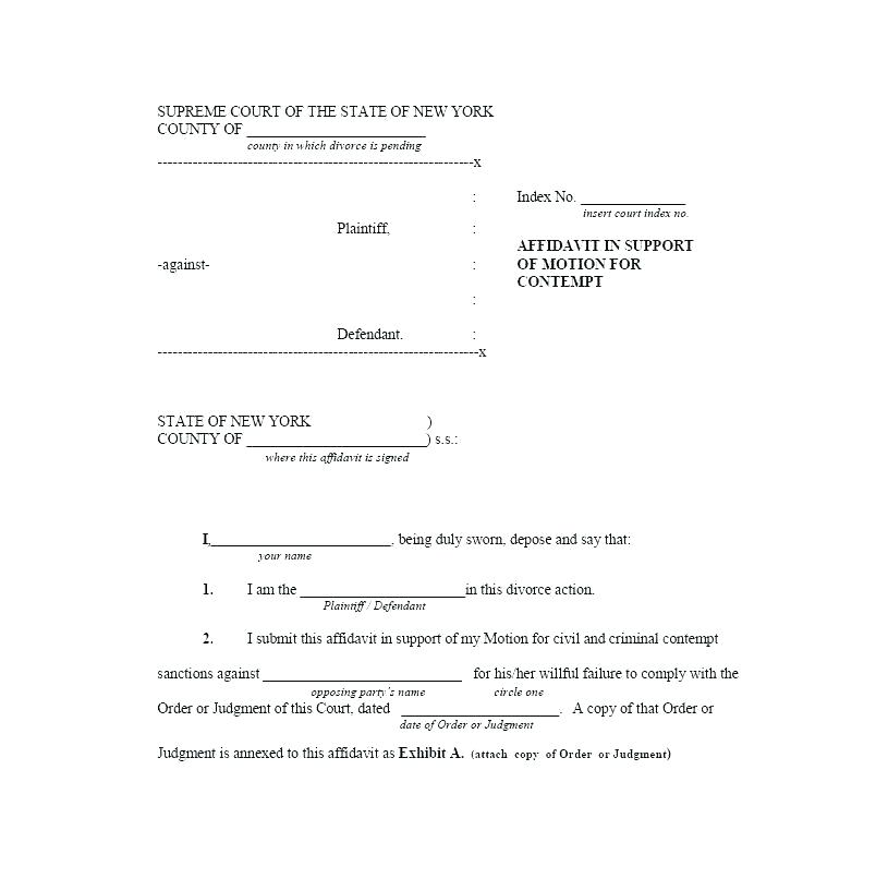 Fake Divorce Paper Template