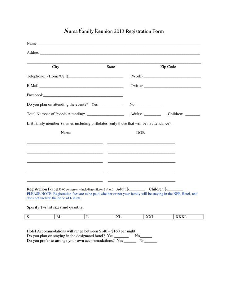 Family Reunion Registration Form Template