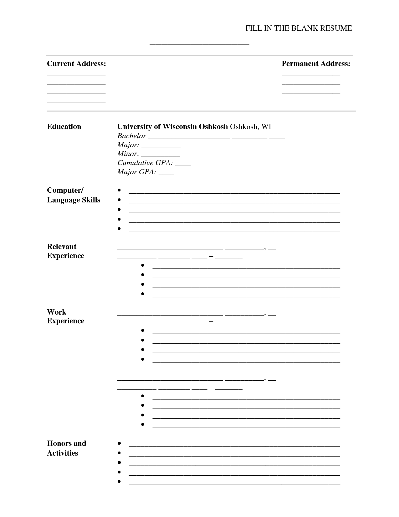 Fill In Resume Template Free
