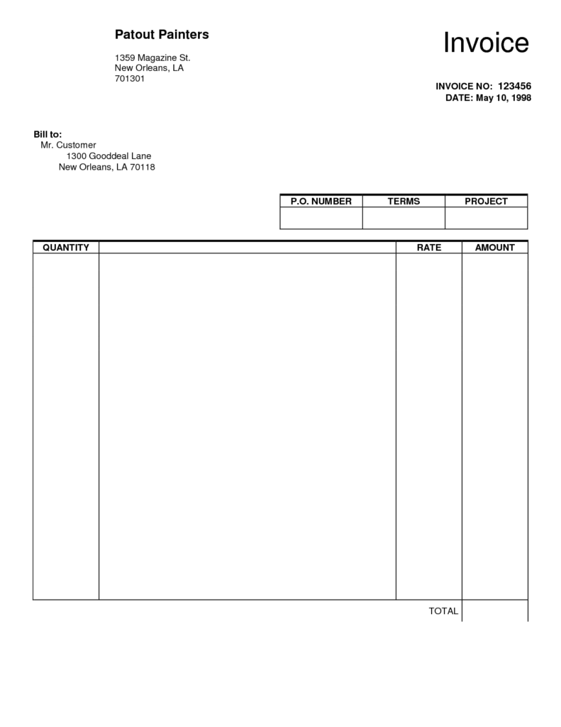 Fillable Blank Invoice Template Pdf