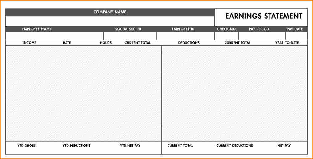 Fillable Free Printable Pay Stub Template