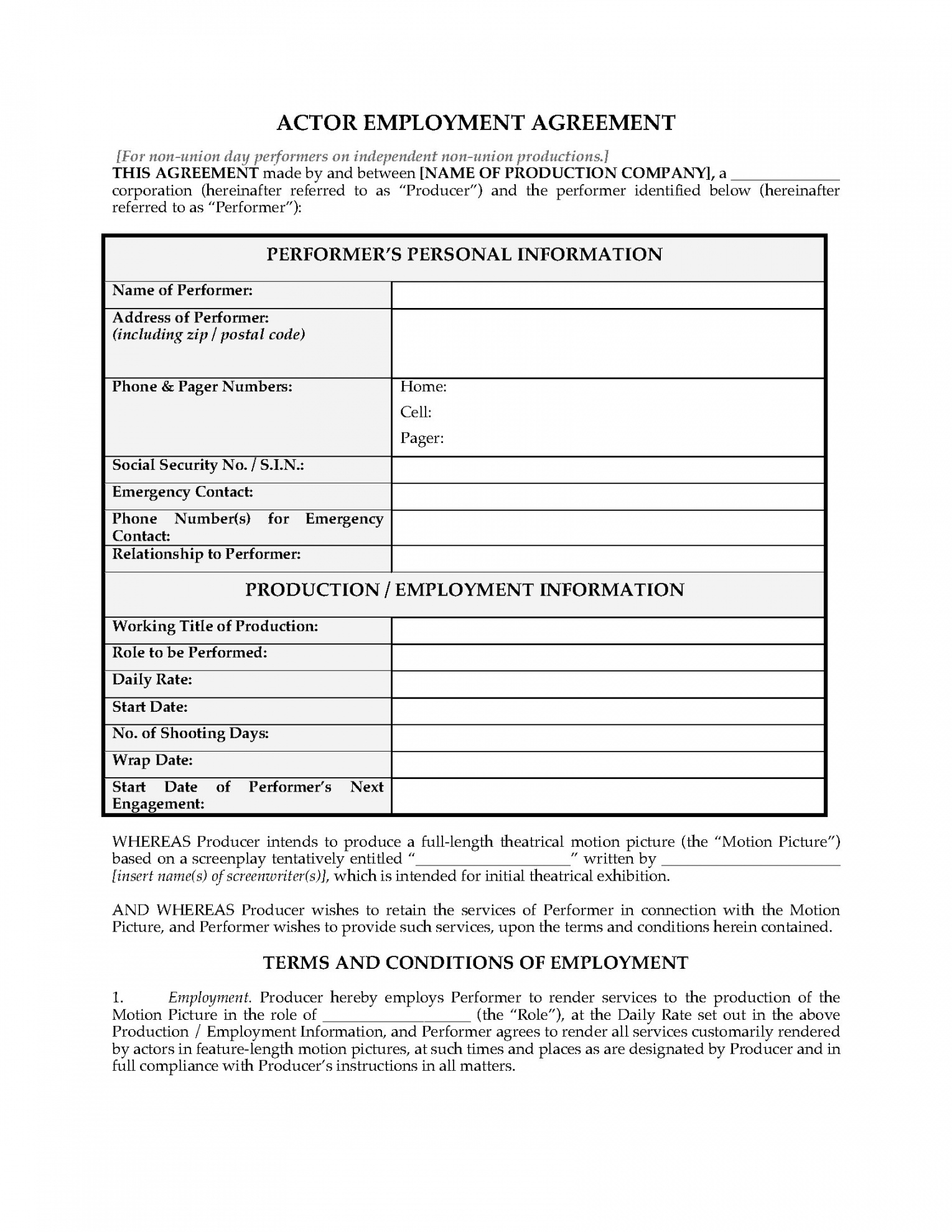 Actor Employment Agreement For Nonunion Day Performers Legal Film Crew Contract Template