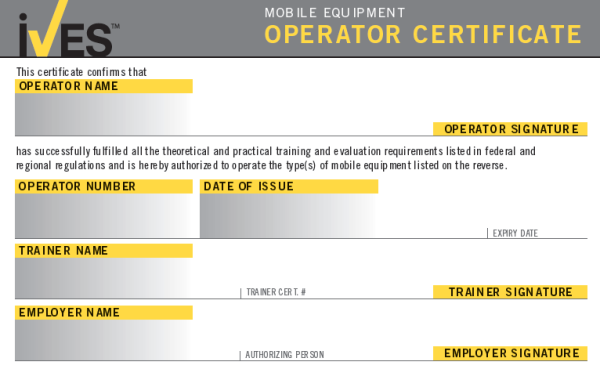 Forklift Operator License Template