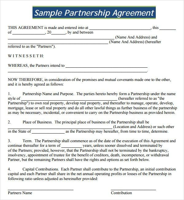 Formal Partnership Agreement Template