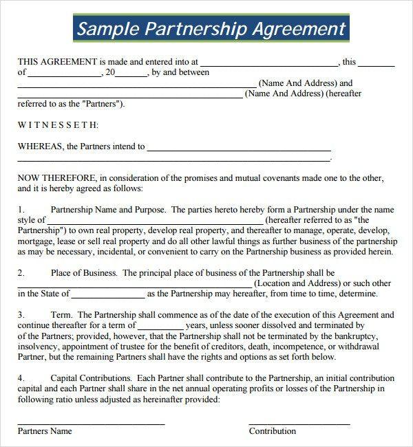 Formal Partnership Agreement Template