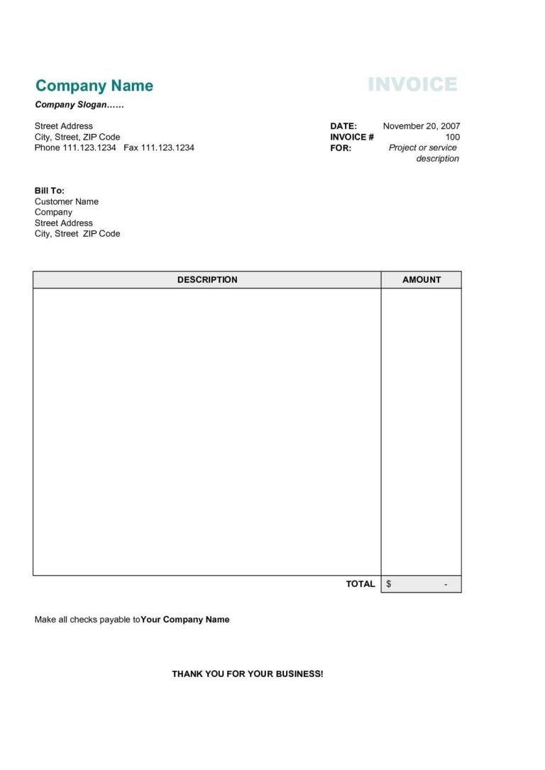 Free Bill Invoice Template Printable