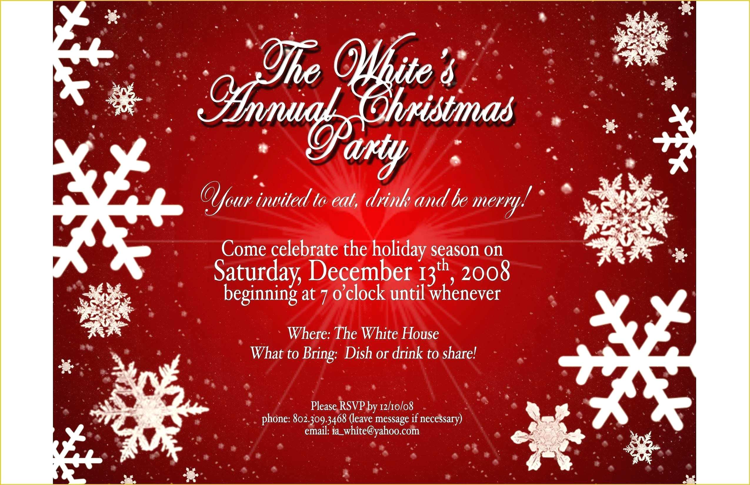 Free Christmas Party Invitation Templates Word