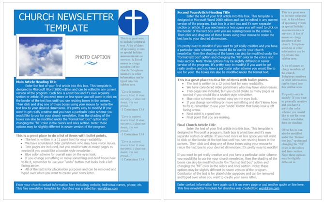 Free Church Newsletter Templates