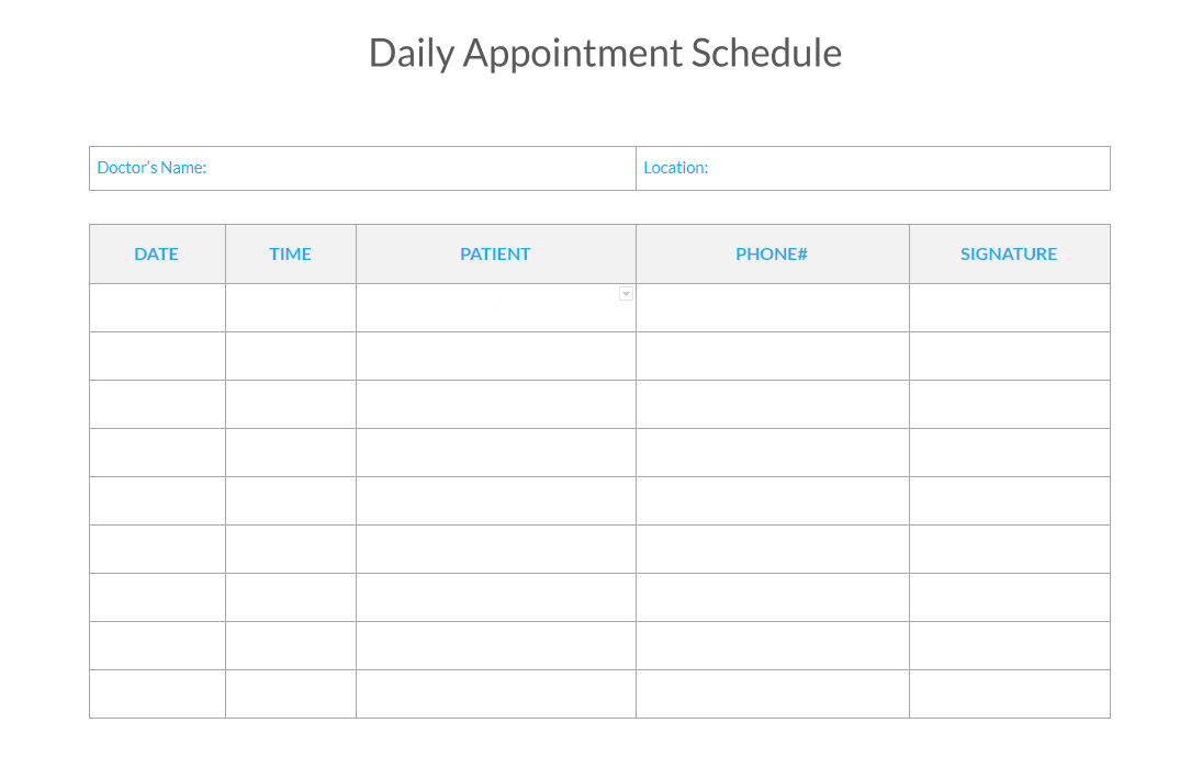Free Daily Appointment Schedule Template