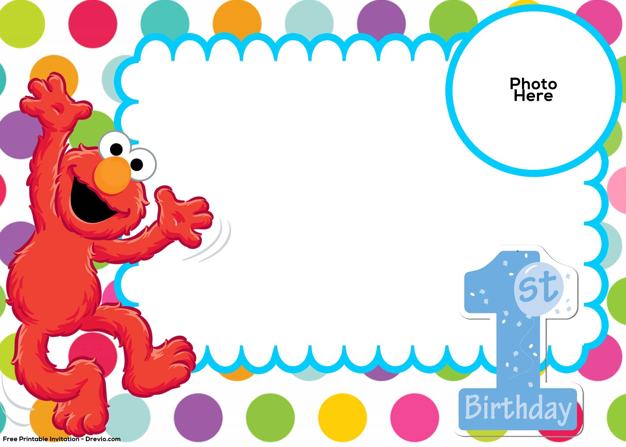 Free Elmo Birthday Invitations Template