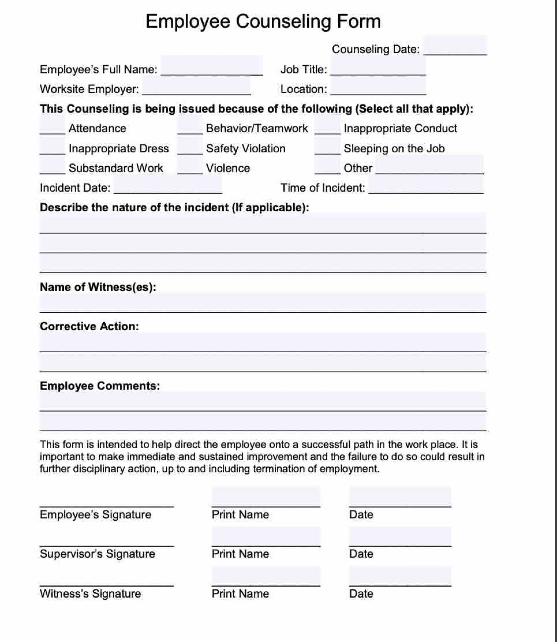 Free Employee Counseling Form Template
