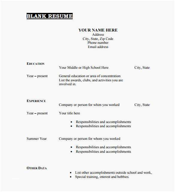 Fill In The Blank Resume Template Best 46 Blank Resume Templates Doc Pdf