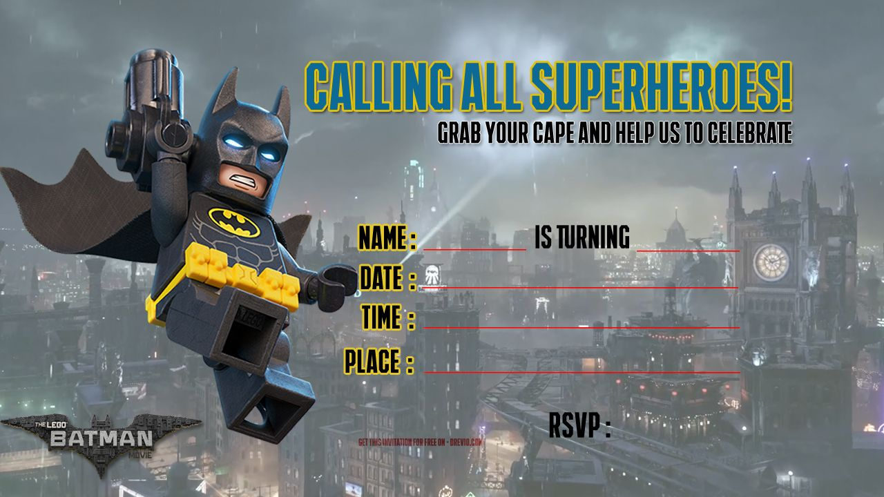 Free Lego Batman Invitation Template