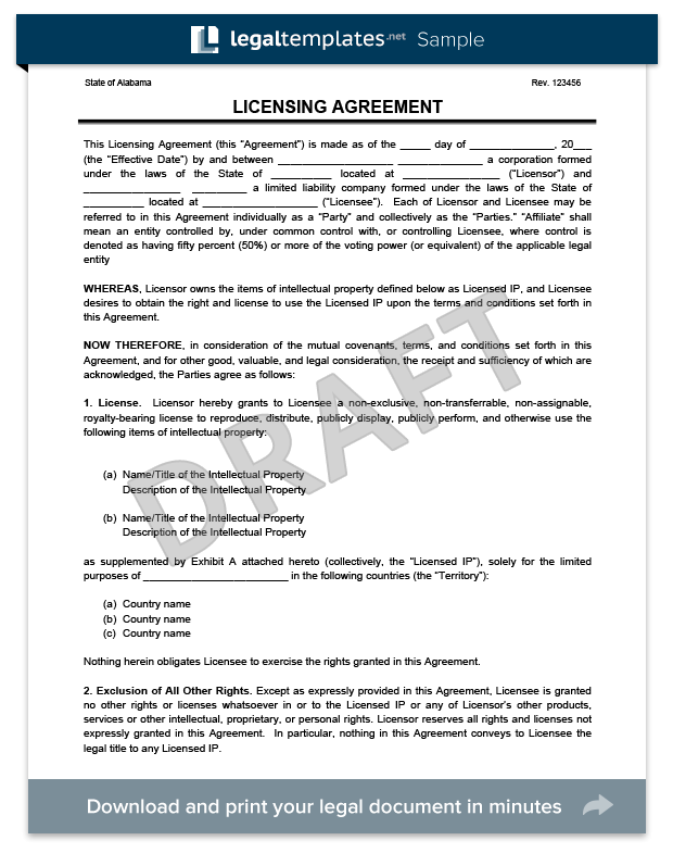 Free Licensing Agreement Template