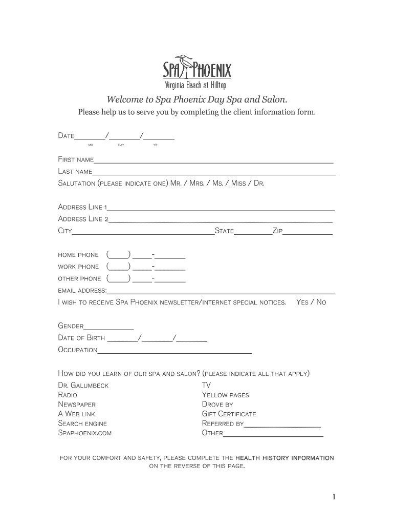 Free Massage Client Intake Form Template