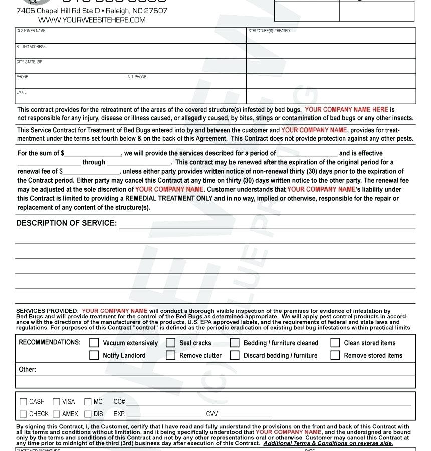pest control contract template  resume examples